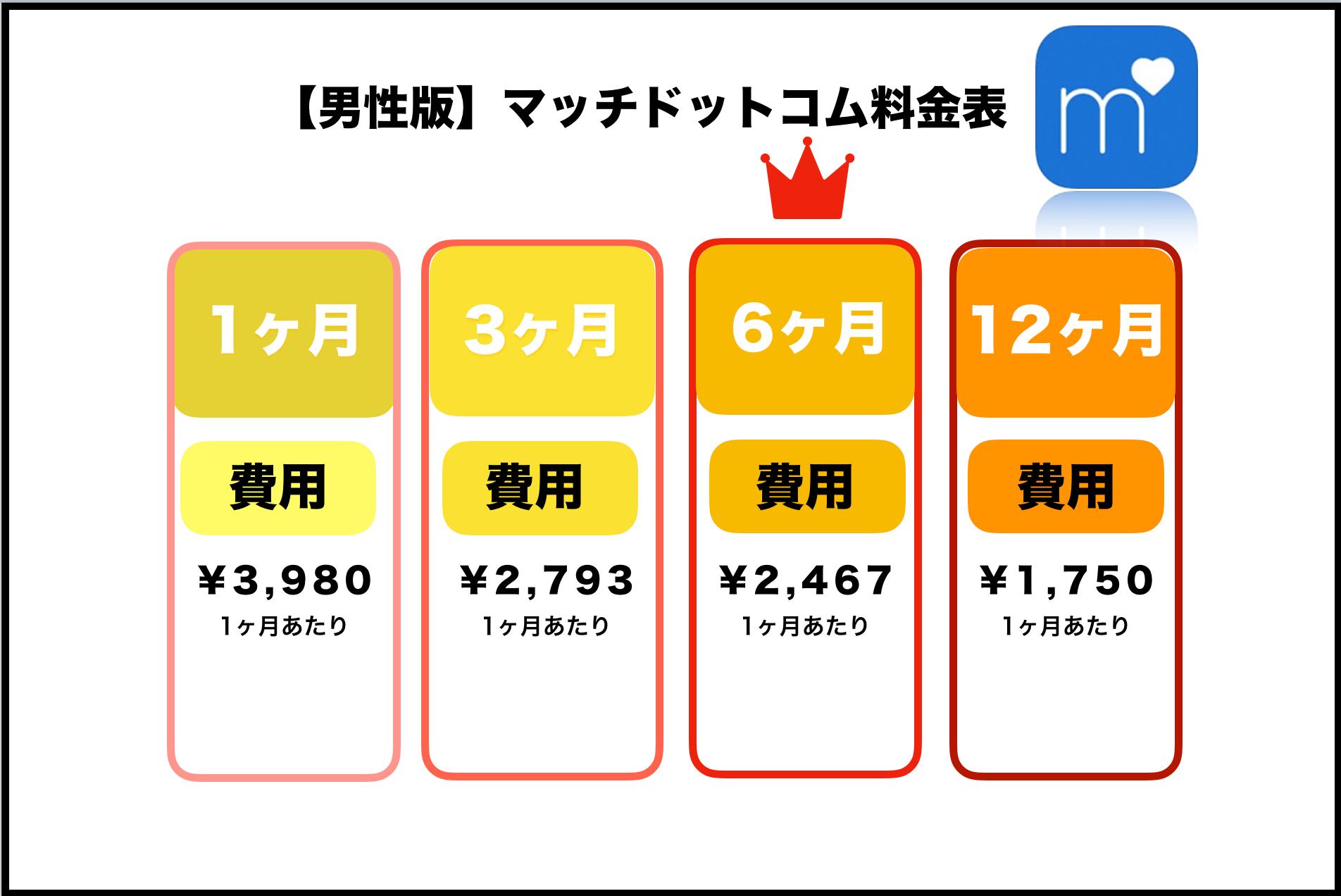 マッチドットコム 料金表
